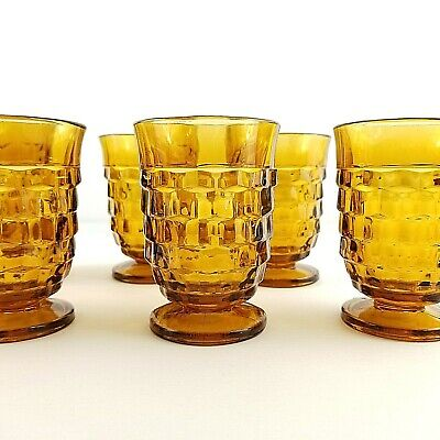 7 pc. Whitehall Cube 6 oz. Juice Glasses Amber Indiana Glass Company Colony MCM