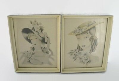 Antique Lithographs 19th Century Women With Bonnets, Solid Wood Frames, Glass