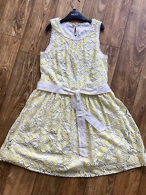 Girls Next Yellow Lace  Summer Party Prom Dress Age 11 146cm VGC