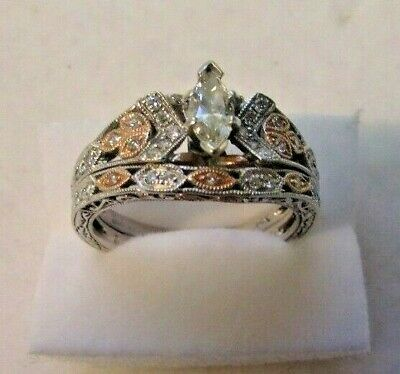 e901afa9b2800 14K MARQUISE DIAMOND ring with Six Diamonds either side .30ct TW 3.3 ...