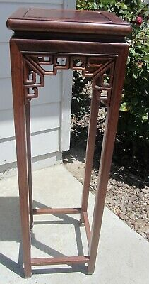 "Stunning Vintage 40"" Tall! Chinese Carved Rosewood Plant Stand Antique"
