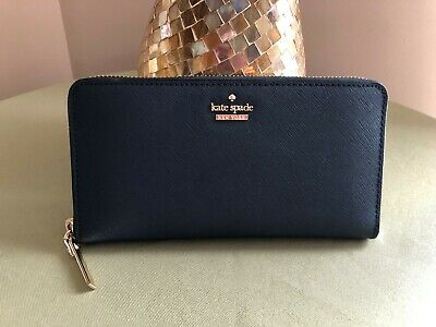 f605dad7b Kate Spade CAMERON Street LACEY Leather Zip Around WALLET Navy Blue PWRU5073