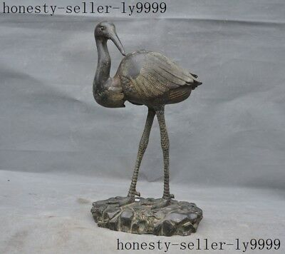 """13"""" old Chinese dynasty palace bronze ware Feng Shui auspicious Cranes statue"""