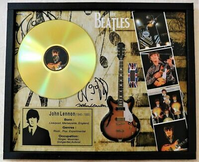 Beatles John Lennon Owned Worn Clothing in Miniature Guitar Tribute Shadow Box