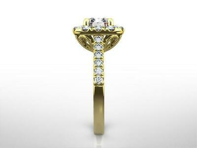 18 Kt Yellow Gold 4 Prongs Diamond Halo Ring 1.75 Carat Cushion Cut Ornate