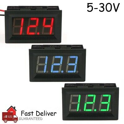 LED Digital Display Voltmeter Car Motorcycle Voltage Gauge Panel Meter 12V/24V