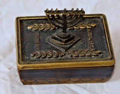 A RARE VINTAGE 1960s NORDIA SOLID BRASS BOX WITH A LID Menorah Final