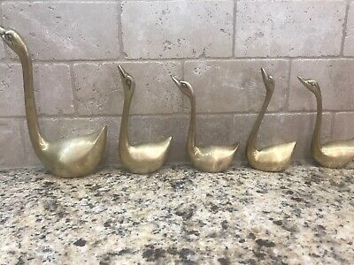 "Vintage Brass Lot Of 5 Brass Geese Goose Swann Figurines 8"" to 5"""