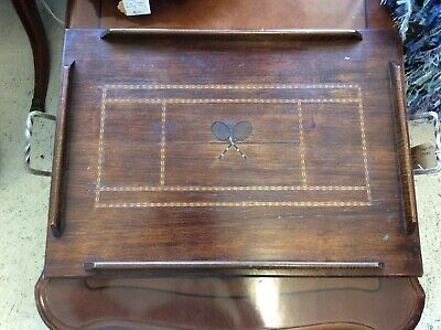Vintage Art Deco Oak Serving Tray With Parquetry Tennis Racquets & Raised Edges