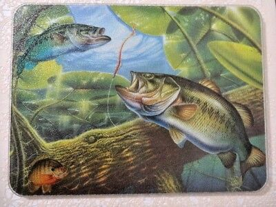 Bass Fish Tempered Glass Cutting Board 12 x 16 Heat Scratch Stain Resistant