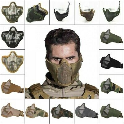 Tactical Airsoft Half Face Mask Steel Mesh Face Cover Army Mask Gears Protective