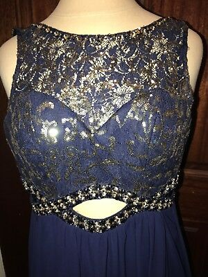 e5bb8f0330b1 Bee Darlin Party Dress Prom Homecoming Cocktail Formal Navy 3/4 Sequin Long