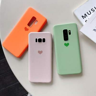 Matte Cute Heart Soft Silicone Case Cover For Samsung Galaxy S10 S9 Plus Note 8