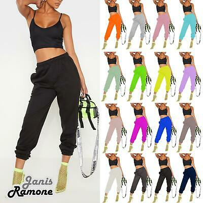Womens Plain Cuffed Bottoms Jogging Joggers Active Gym Tracksuit Trousers Pants