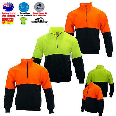 HI VIS POLAR Jumper Half Zip Safety Workwear Fleecy Cotton Warm Work Wear