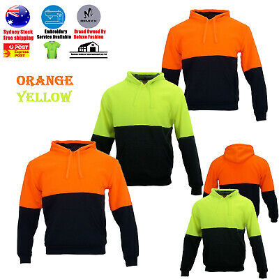 High-Vis Hoodie Jacket Jumper Workwear Safety Sweatshirt Warm Winter Work Wear