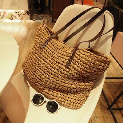 Women Tote Shoulder Bags Summer Beach Casual Straw Wicker Knitted Bag