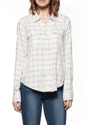 Paige Women's Button Down Mya Check Shirt in White/Lilac Size Large