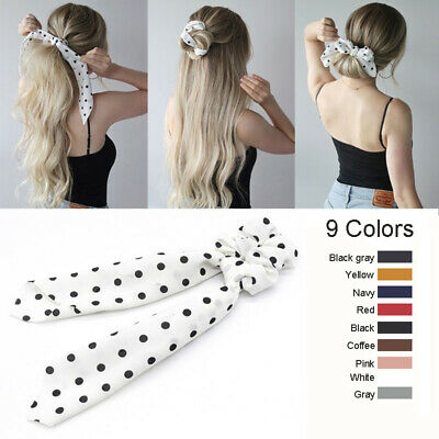 Girls Hair Bands Wave Point Ribbon Hairbands Ponytail Scarf Elastic Hair Rope