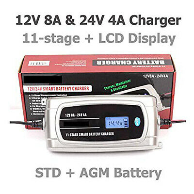 12V 8A/24V 4A Smart battery charger 11Stage LCD Display Overcharge protection EU