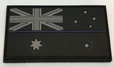 Thin Blue Line * Real Dull Blue Thin Line, PVC Patch, Hook Rear, Police