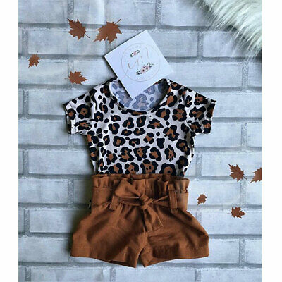 AU Toddler Baby Girl Summer Leopard Top T-shirt+Short Pants Outfits Clothes Sets