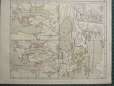 1875 Antique Historical Map ~ Byzantine Empire Expansion 1682 Latin Empire
