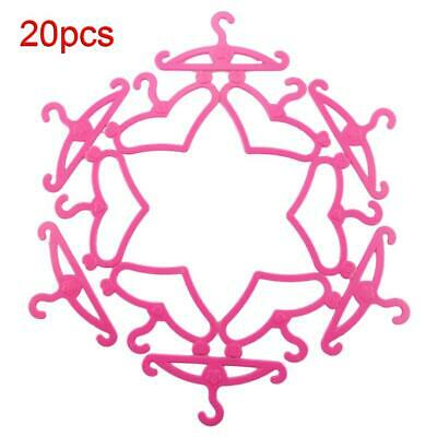 UK 20Pcs Mini Barbie Size Dolls Hook Rack Coat Dress Clothing Hangers Baby Pink