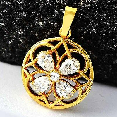 8f8b62f00 Fashion Womens Clover Crystal Pendant Yellow Gold Filled fit long necklace