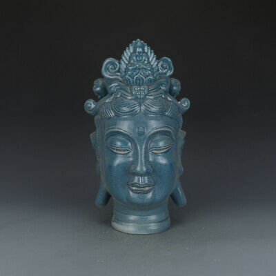 Fine Chinese Antique Song Blue Glaze Porcelain Buddha's head