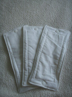 NEW Made in UK 3 Tiny Sized Zorb inserts Fleece Backed Snaps fit 0 size nappies