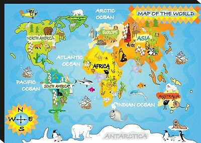 World Map Detailed Large CANVAS A0 A1 A2 A3 A4 Sizes