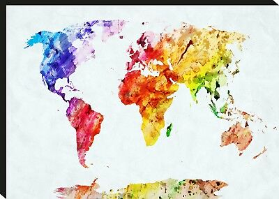 World Map Beautiful Watercolour Box Framed CANVAS ART PRINT A0 A1 A2 A3 A4
