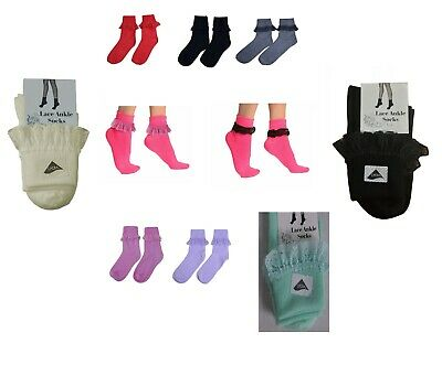 Frilly Lace Socks Ankle High Girls Fancy Ankle Highs Cotton Socks 9- 6.5 UK SIZE