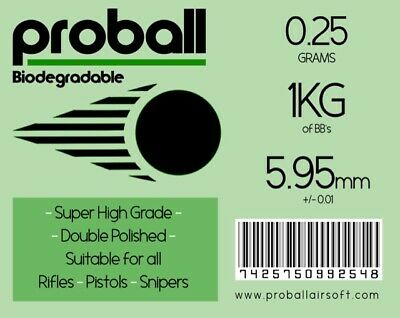 Proball 0.25g biodegradable 1kg ( 4000 rounds) airsoft 6mm bbs