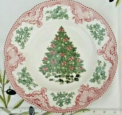 "Johnson Brothers OLD BRITAIN CASTLES PINK CHRISTMAS 10"" Dinner Plate. BRAND NEW"