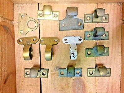 Antique Victorian Brass Sash Window Lifts and Ring Pulls - Job Lot