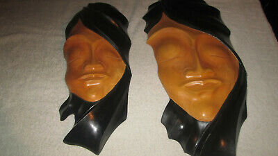Oriental-African Wall Hanging Masks X2 Wooden Vgc 44 And 51 Cm Long