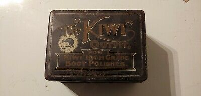 Antique KIWI SHOE BOOT POLISH TIN black 14 x 10.5 x 7.5 cm