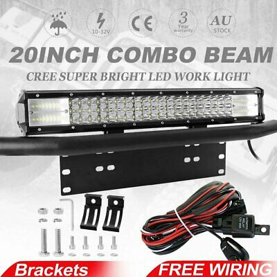 20inch Tri-row CREE LED Spot Flood Light Bar + 23'' Number Plate Frame Front Bar