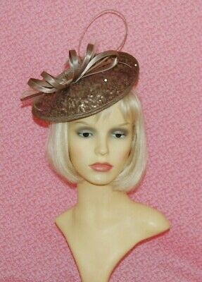 Elegant Taupe Sinamay Sequin Disc Fascinator with Satin Loops on Head Band
