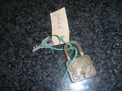 Padlock & Key H.Y Squire & Sons Square Lock  Vintage Made in England