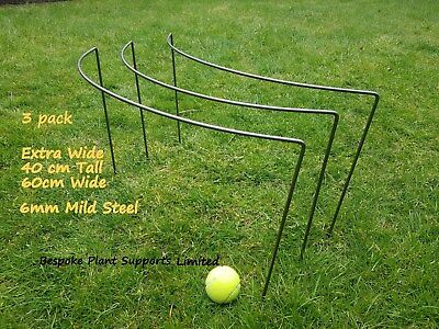 Plant Supports 3 pack Extra Wide Metal 40cm tall and 60 cm wide 6mm mild steel