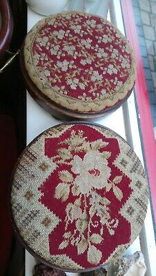 Pair Of Pretty Antique Victorian Foot Stools With Bun Feet