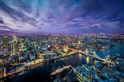 London Skyline at Night Glossy Poster Print Wall Art Decoration City Pictures