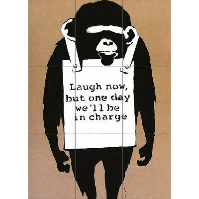 Laugh Now Banksy Street Graffiti Wall Art Multi Panel Poster Print 35X50 Inches