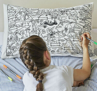 Doodle Dinosaur Pillowcase with Wash Out Fabric Pens - 100% Cotton