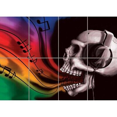 POSTER PRINT PAINTING GRAFFITI PSYCHEDELIC COLOURFUL SKULL BURST HORROR SEB472