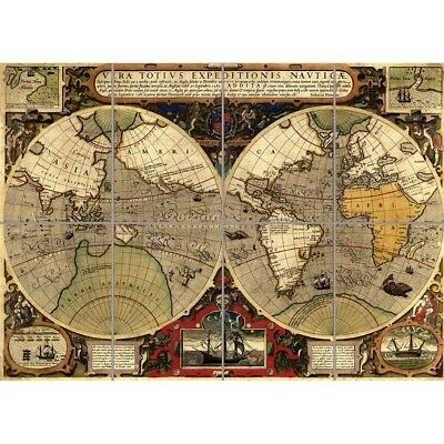ART PRINT POSTER MAP OLD HEMISPHERE GLOBE WORLD NOFL0683
