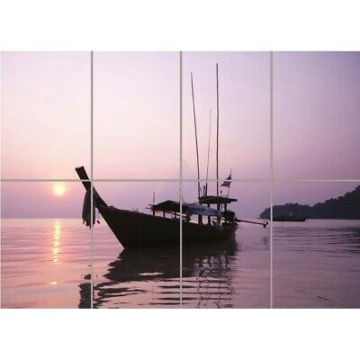 Sunrise Surin Island Thailand Boat Pink Purple Wall Art Panel Poster 47X33""